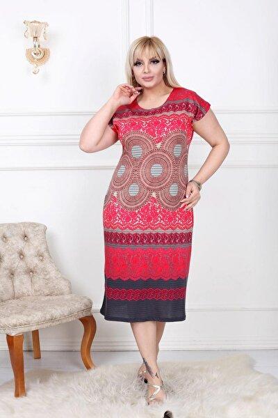 Büyük Beden Elbise Kısa Kollu Kırmızı Üzerine Etnik Desenli