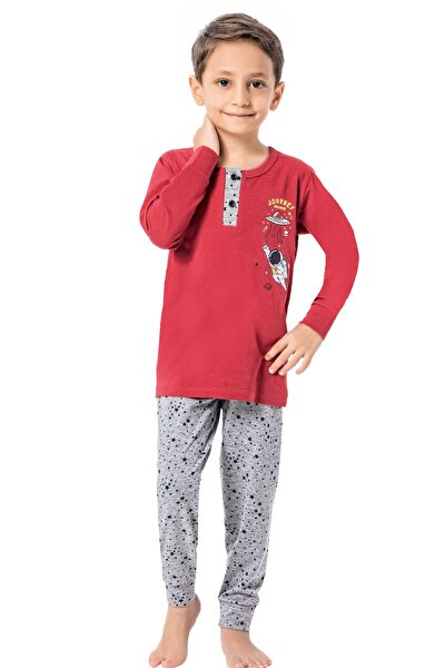 Erkek Yıldız Desen Uzun Kol - Paça Manşetli  Çocuk Pijama Takım