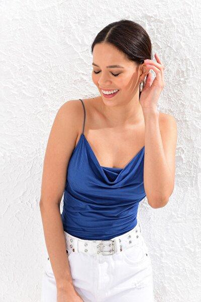 Kadın Mavi Degaje Yaka Bluz CY205