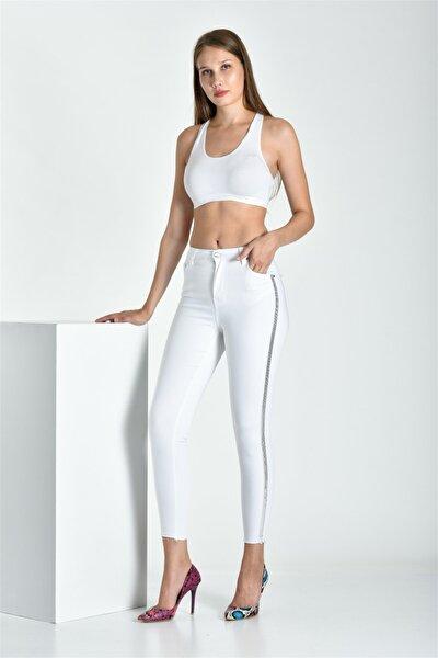 Sim Şerit Detaylı Beyaz Skinny Jean 903