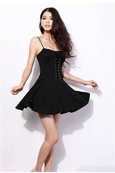 Esnek Dalgıç Kumaş Önden Bağcık Detaylı Askılı Siyah Kiloş Elbise