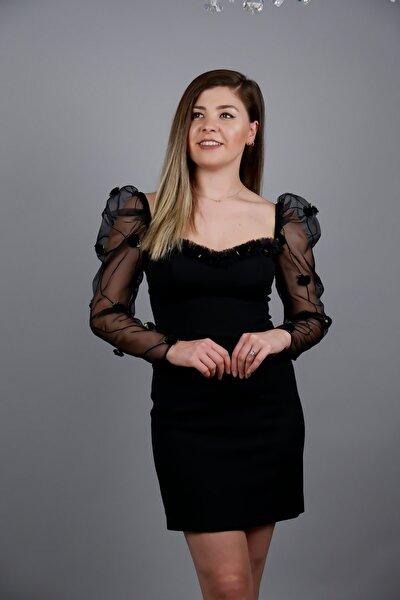Siyah Organze Kollu Mini Elbise 5497