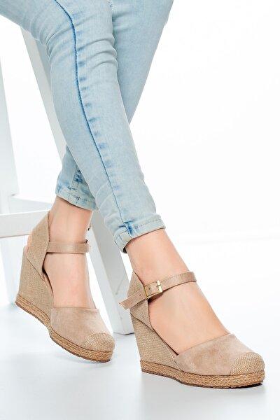 Vizon-hasır Keten Kadın Dolgu Topuklu Ayakkabı Md1013-120-0004