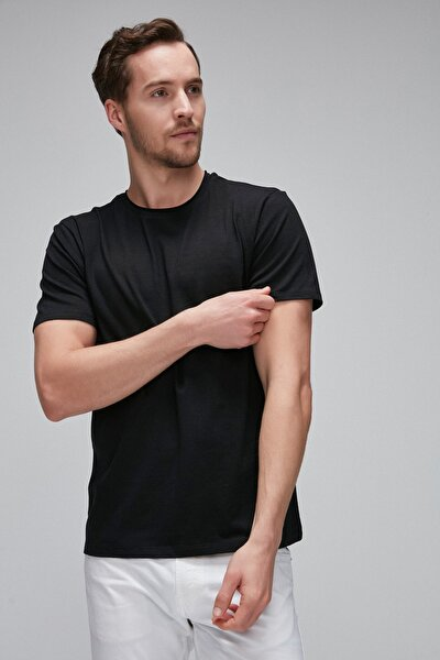 JACE Siyah Yumuşak Esnek Pamuk Likralı Kumaşlı Basic T-Shirt