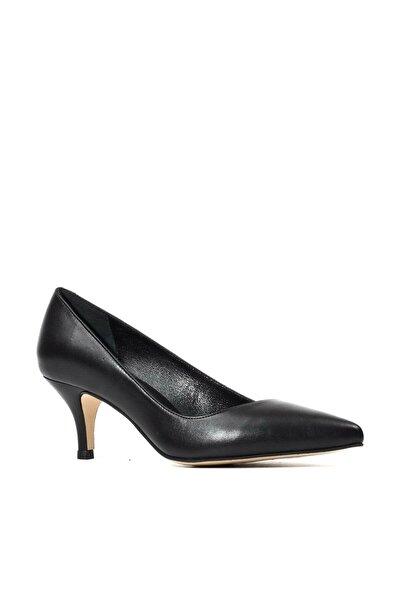 Hakiki Deri Siyah Klasik Topuklu Kadın  Ayakkabı