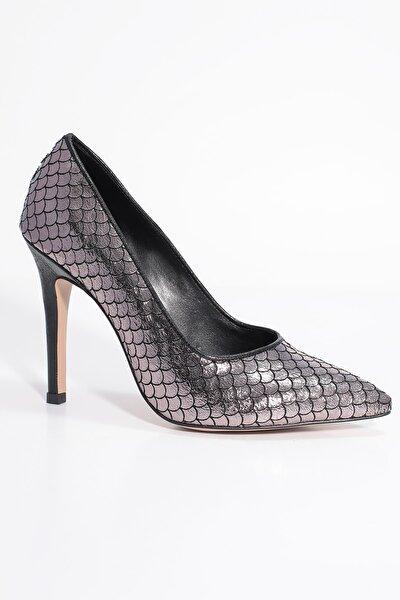 Gri Kadın Klasik Topuklu Ayakkabı