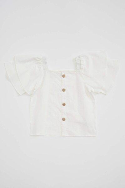 Kız Çocuk Kısa Kollu Omuzu Açık Bluz