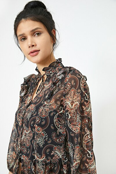 Kadın Kahverengi & Renkli Desenli Bluz 0KAL68826IW