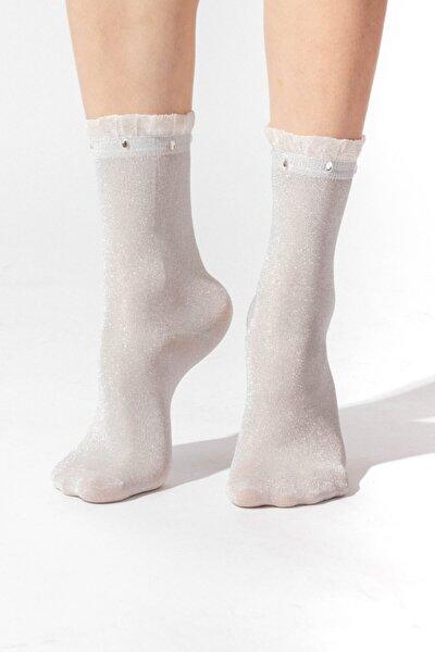 Ocean Odyssey Boncuklu Kadın Patik Çorap - Gri