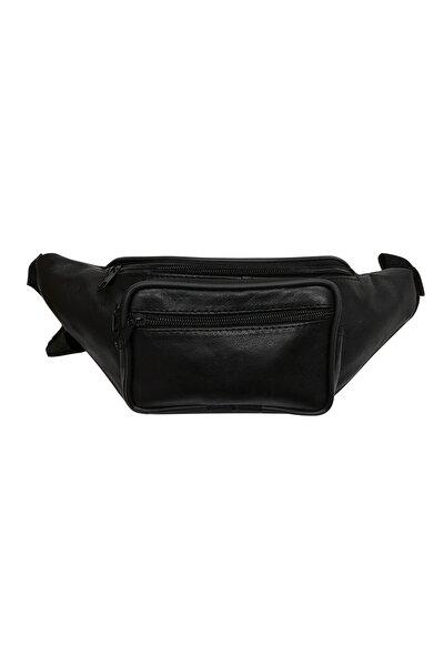 Hakiki Deri Siyah Renk Kadın Ve Erkek Freebag Bel Çantası