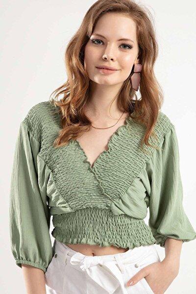 Kadın Arkadan Bağlamalı Derin V Yaka Bluz Y20s126-10605