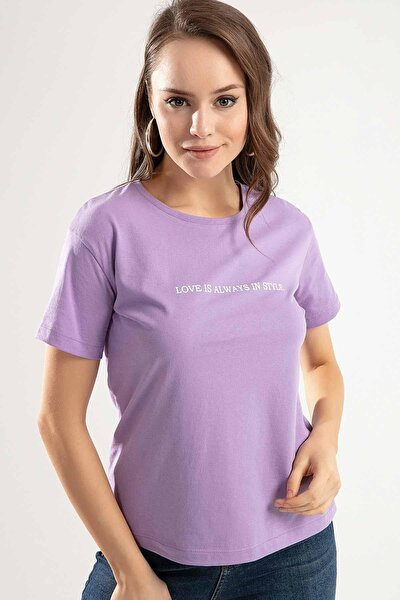 Kadın Lila Love is Always Baskılı Semi Fİtted Kalıp Tişört Tişört PTTY20S-4222