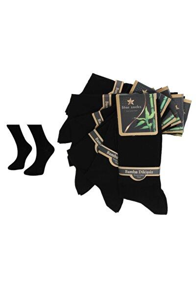 Iğne Dikişsiz Siyah Bambu Soket Çorap 6'lı 200
