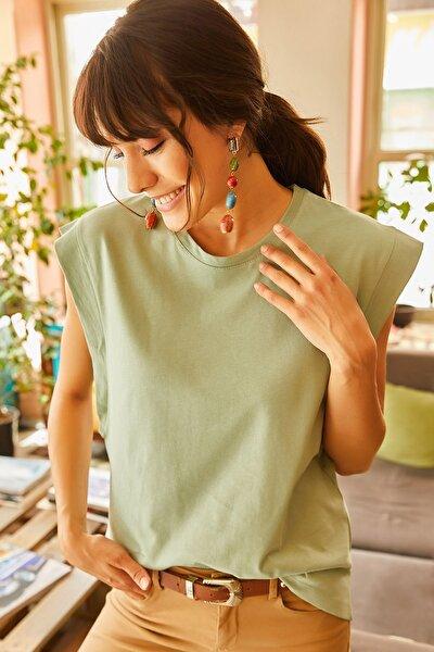 Kadın Mint Koltuk Altı Parçalı Yarasa T-shirt TSH-19000330