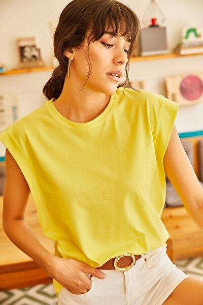 Kadın Sarı Koltuk Altı Parçalı Yarasa T-shirt TSH-19000330