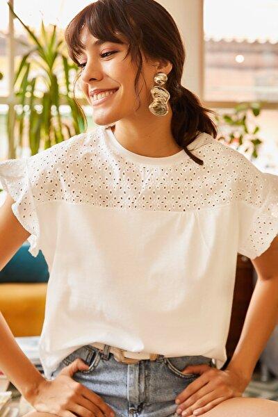 Kadın Ekru Üstü Fisto Kolu Volanlı T-shirt BLZ-19000979