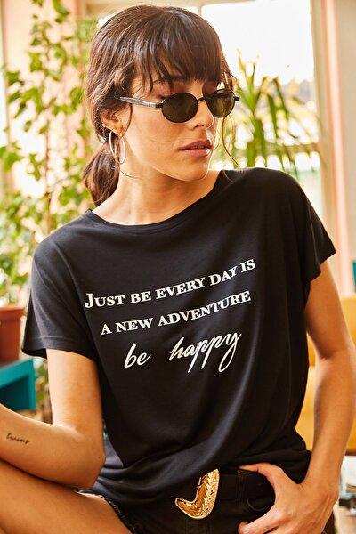 Kadın Siyah Salaş T-shirt TSH-19000351