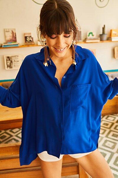 Kadın Saks Mavi Cepli Salaş Gömlek 11 GML-19000420