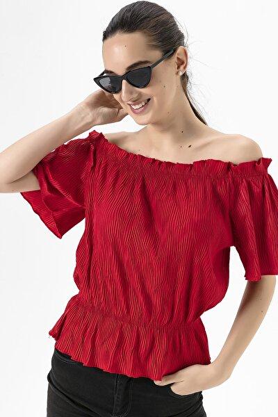 Kadın Kırmızı Madonna Yaka Piliseli Bluz She020y010005