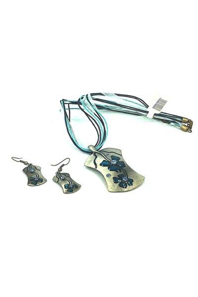 Metal Çiçek Desenli Kolye Küpe Set  2170210010569