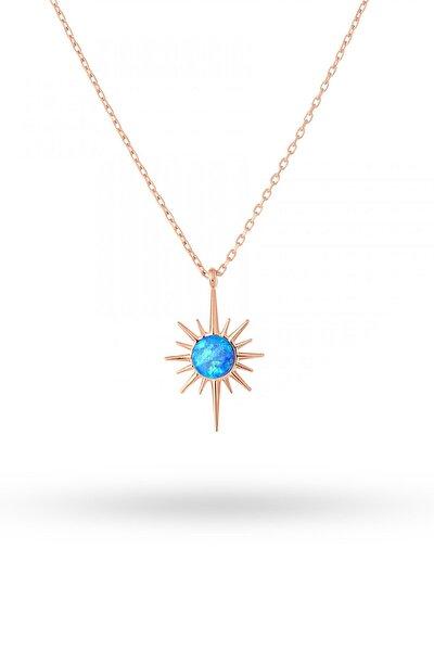 Gümüş Opal Taşlı Mini Kutup Yıldızı Kolye