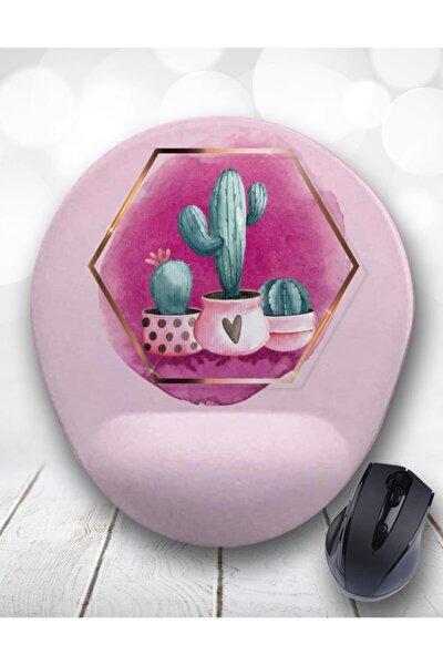 Pink Suluboya Kaktüs Bilek Destekli Mouse Pad