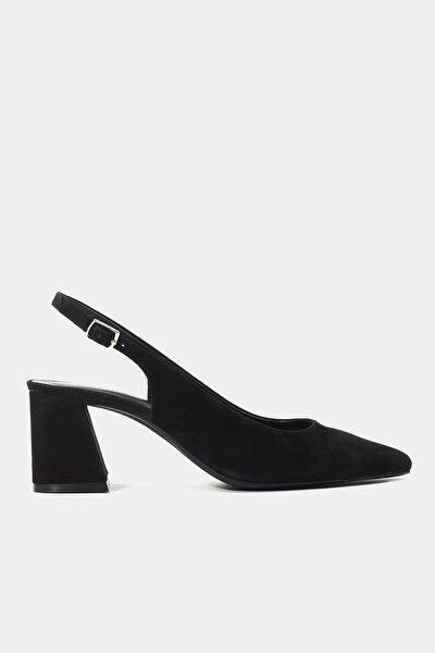 Hakiki Deri Siyah Kadın Stiletto