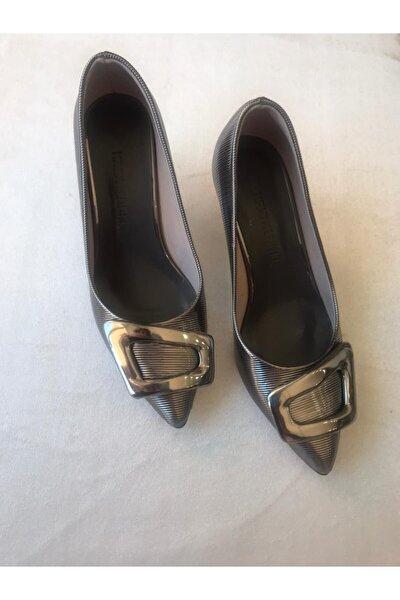 Gri Topuklu Kadın Ayakkabı