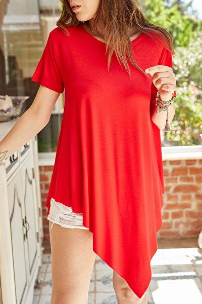 Kadın Kırmızı Asimetrik Bluz 0YXK2-43369-04