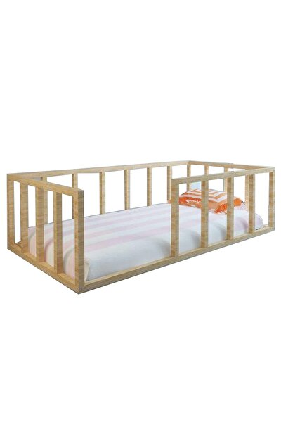 Montessori Çocuk Yatak Doğal Çam Ağacı Yatak 90x190 Yıldız