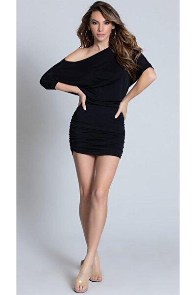 Esnek Sandy Kumaş Siyah Mini Elbise Siyah Fantezi Gecelik