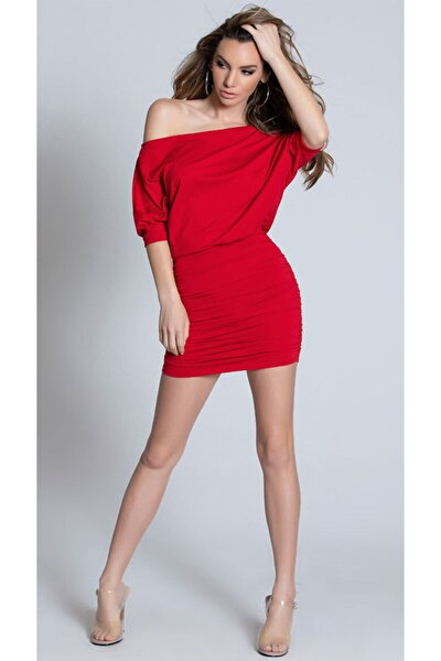 Esnek Sandy Kumaş Kırmızı Mini Elbise Kırmızı Fantezi Gecelik