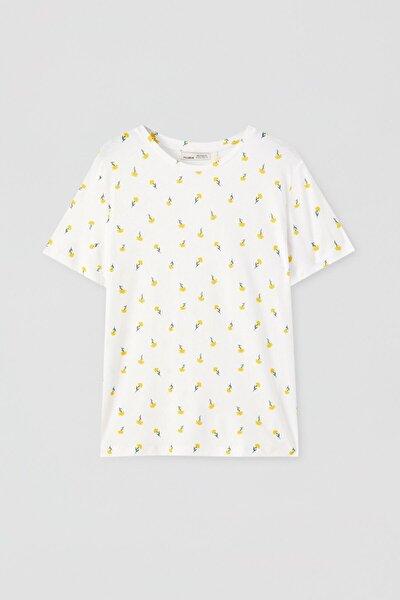 Kadın Sarı Çiçek Desenli Beyaz T-Shirt 05238312