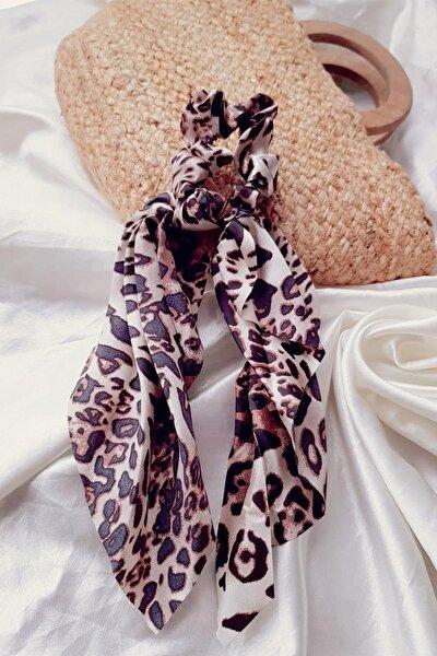 Kadın Kahve Renk Leopar Desenli Saten Lüx Fularlı Saç Lastiği Toka -fk01