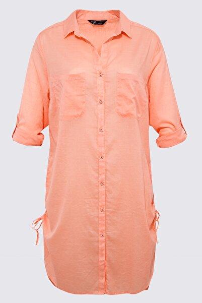 Kadın Pembe Saf Pamuklu Gömlek Plaj Elbisesi T43003445X