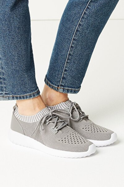 Kadın Gri LIGHT AS AIR™ Bağcıklı File Spor Ayakkabı T02000126L