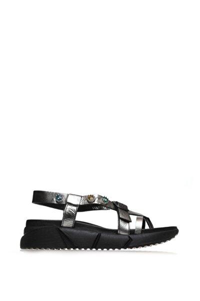 Çelik Deri Siyah Taban Renkli Taşlı Kadın Sandalet