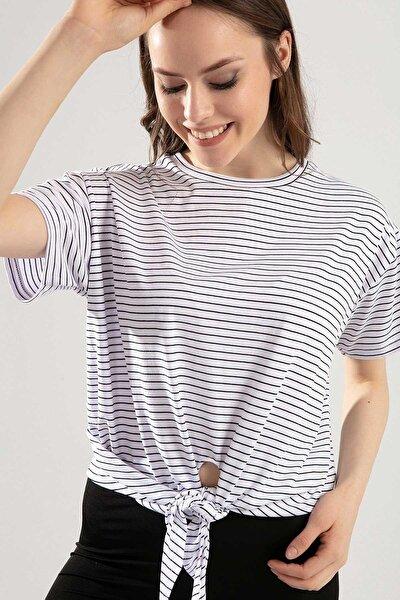 Kadın Önden Bağlamalı Çizgili Tişört Y20s126-10589