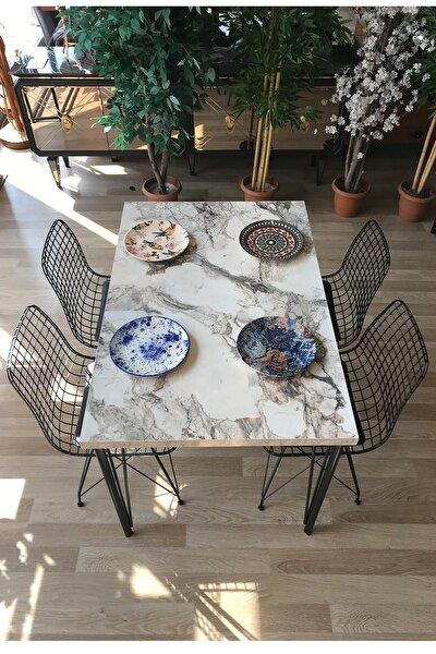 Mutfak Masası + 4 Sandalye Beyaz Mermer 120-80