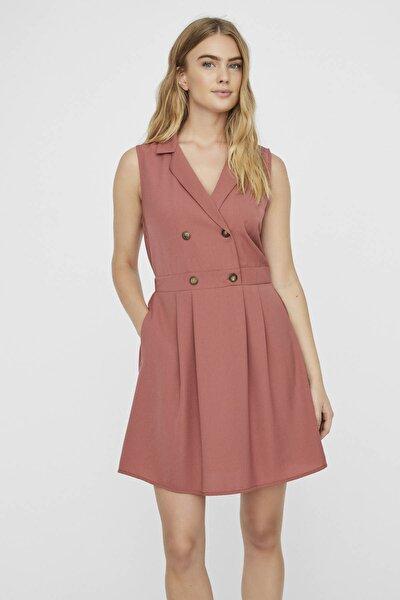 Kadın Kiremit Düğme Detaylı Kruvaze Yaka Kolsuz Elbise 10227447 VMDESPINA