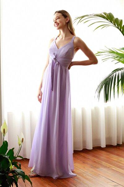 Lila Şerit Biyeli Abiye & Mezuniyet Elbisesi TPRSS20AE0256