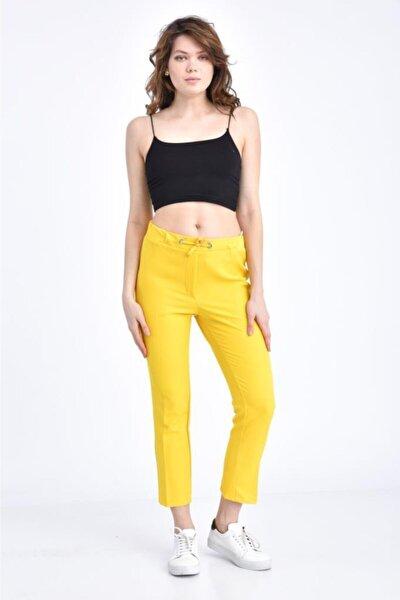 Kadın Belden Lastikli Ve Bağcıklı Sarı Bilek Pantolon