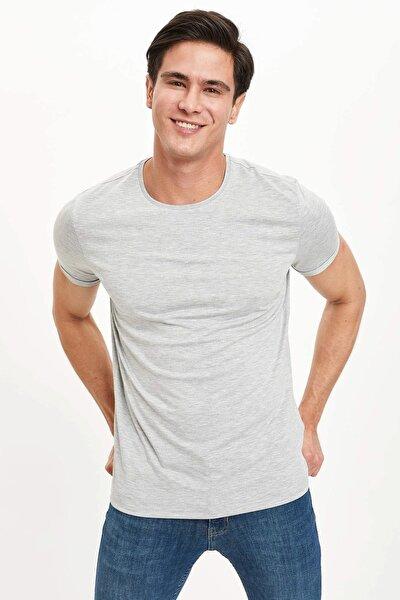 Erkek Gri Güvende Kal Bisiklet Yaka Slim Fit Basic T-Shirt