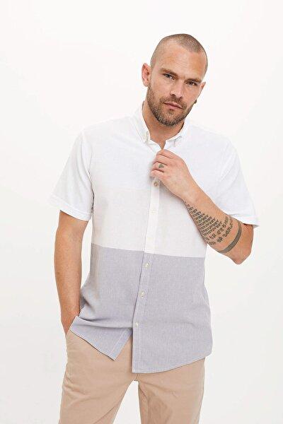 Erkek Gri Tek Cepli Modern Fit Gömlek N5972AZ.20SM.GR91