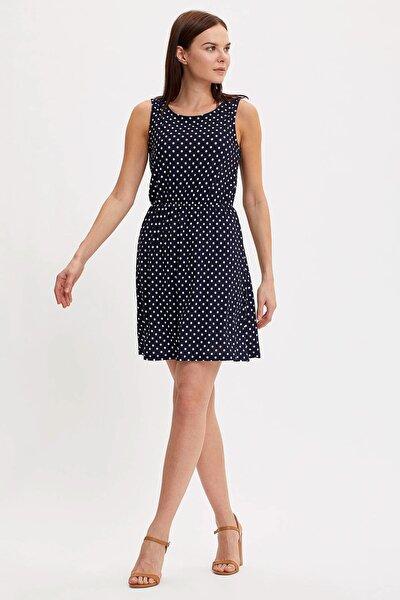 Kadın Çivit Mavisi Çiçek Desenli Belden Bağlama Detaylı Örme Elbise M9053AZ.20SM.IN59