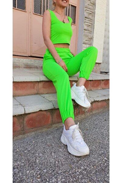 Kadın Neon Yeşili Askılı Pamuklu Bluz