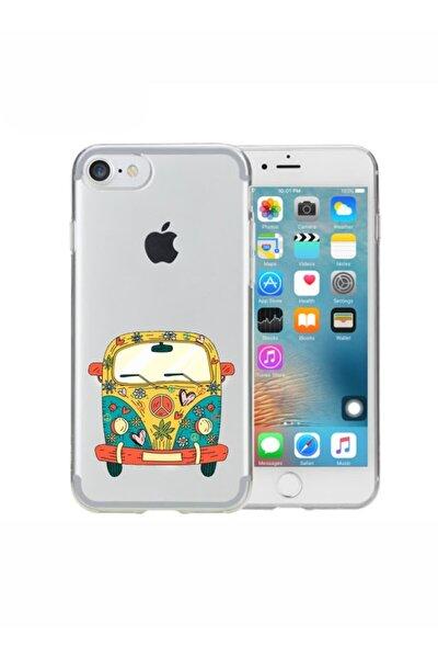 Iphone 7 Peace Desenli Şeffaf Telefon Kılıfı