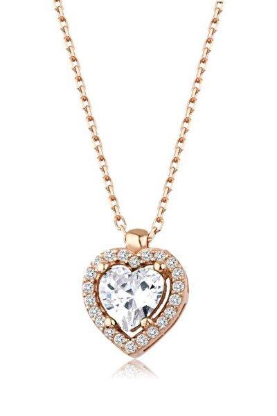 Kadın 925 Beyaz Taşlı Kalp Kolye