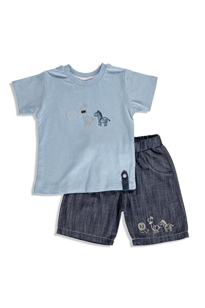 Yaz Erkek Bebek Sevimli Hayvanlar Tshirt-Şort Takım