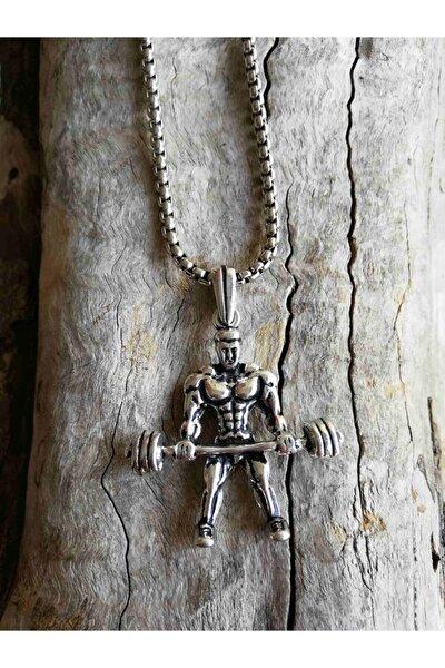 Kaslı Adam Figürlü Paslanmaz Çelik Sporcu Kolyesi